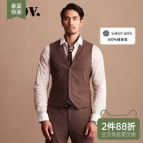 Vest / vest Business gentleman J.D.V 180/100A 185/104A 165/84A 170/88A 175/92A 180/96A Coffee go to work Self cultivation Vest routine autumn youth Business Formal  Single breasted Slant hem Wool 100% other Thread embedding and bag digging Autumn of 2018