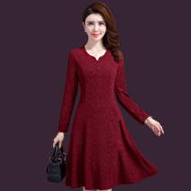 Middle aged and old women's wear Autumn of 2019 Red, blue M,L,XL,5XL,3XL,4XL,2XL fashion Dress Self cultivation singleton  Solid color Socket moderate Medium length longuette