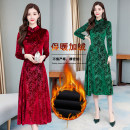 Middle aged and old women's wear Winter of 2019, autumn of 2019 Ruby red, sapphire blue, sapphire green M,L,XL,2XL,3XL fashion Dress singleton  Decor moderate Crew neck longuette
