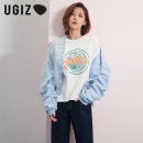 short coat Spring 2020 F / average size White / wt sky blue / sb Long sleeves have cash less than that is registered in the accounts routine singleton  easy street puff sleeve stand collar zipper letter 18-24 years old UGIZ 96% and above zipper UAUD301 polyester fiber Polyester 100%