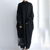 Dress Winter 2020 Apricot, black Average size Miniskirt singleton  Long sleeves commute High collar High waist Solid color Socket A-line skirt routine Others 18-24 years old Type A 71% (inclusive) - 80% (inclusive) knitting cotton