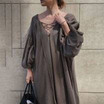 Dress Summer 2020 Dark brown Average size Miniskirt singleton  three quarter sleeve commute V-neck Loose waist Solid color Socket A-line skirt routine Others 18-24 years old Type A Korean version 31% (inclusive) - 50% (inclusive) other cotton