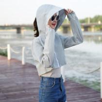 short coat Summer of 2018 Average code Light blue, light pink, light grey rose red taro, purple white. Long sleeve ultrashort Thin section Single other