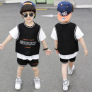 suit Morino  90cm 100cm 110cm 120cm 130cm 140cm 150cm male summer leisure time Short sleeve + pants 2 pieces Thin money There are models in the real shooting Socket nothing Solid color cotton children Expression of love Mesh short sleeve two piece set