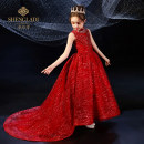 Children's dress T001 - red - trailing T001 - red - short front and long back T001 - Gold - trailing T001 - silver gray - trailing female 100cm 110cm 120cm 130cm 140cm 150cm 160cm Saint Latisse full dress SLD20411 Polyester 100% Summer 2020 princess