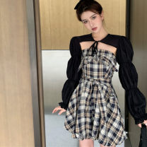 Fashion suit Summer 2020 Average size Black long sleeves, plaid Jumpsuit 18-25 years old FWL5423