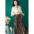 skirt Summer 2020 S, M Black Brown longuette Versatile High waist A-line skirt stripe Type A More than 95% other Guandong polyester fiber