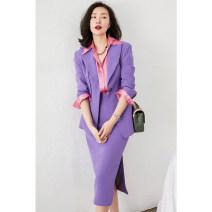skirt Spring 2021 S,M,L,XL Blue, purple Mid length dress Versatile High waist skirt Solid color GD-Q4602 More than 95% Guandong silk