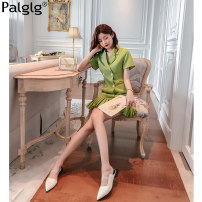 Dress Summer of 2019 green S M L Middle-skirt other Short sleeve commute tailored collar other other other Pile sleeve Others 18-24 years old Type A Palglg Simplicity Pleated asymmetric button More than 95% polyester fiber Polyethylene terephthalate (PET) 97% polyurethane elastic fiber (spandex) 3%