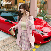 Fashion suit Spring 2020 S M L Pink suit pink jacket pink skirt 18-25 years old Palglg 94PD9605 Viscose (viscose) 58.2% polyester 31% polyamide (nylon) 10.8% Pure e-commerce (online only)