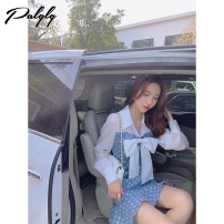 Dress Summer 2021 blue and white color S M L Middle-skirt singleton  Long sleeves Sweet other Others 18-24 years old Palglg 11PD12273 More than 95% other other Other 100% Pure e-commerce (online only)
