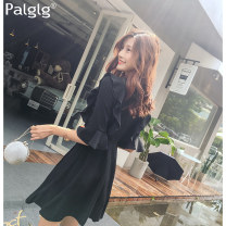Dress Autumn of 2019 black S M L Short skirt singleton  elbow sleeve Sweet V-neck High waist Solid color zipper A-line skirt pagoda sleeve Others 18-24 years old Type A Palglg Pleated zipper PD6152b More than 95% other polyester fiber Polyester 95% polyurethane elastic fiber (spandex) 5% princess