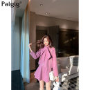 skirt Summer 2020 S M L violet Short skirt commute High waist other Solid color 18-24 years old 51% (inclusive) - 70% (inclusive) Wool Palglg polyester fiber Pocket zipper Pure e-commerce (online only)