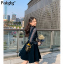 Dress Summer 2020 royal blue S M L XL Middle-skirt Two piece set Long sleeves commute Crew neck High waist Solid color zipper A-line skirt routine Others 18-24 years old Type A Palglg Corrugated button zipper with cutout fold stitching PD7313b More than 95% other polyester fiber Polyester 100%