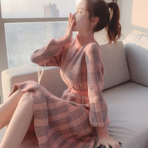 Dress Winter 2020 Check pink [mall quality], check black [mall quality] S,M,L,XL,2XL Mid length dress singleton  Long sleeves commute Half high collar High waist lattice Socket A-line skirt routine Others Type A Korean version 51% (inclusive) - 70% (inclusive) knitting other