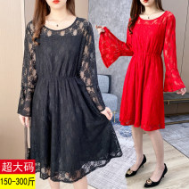 Women's large Spring 2021 Black, red Big 3XL [recommended 140-160 kg], big 4XL [recommended 160-180 kg], big 5XL [recommended 180-200 kg], big 6xl [recommended 200-220 kg], big 7XL [recommended 220-240 kg], big 8xl [recommended 240-270 kg], big 9xl [recommended 270-300 kg] Dress singleton  commute