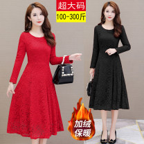Women's large Winter of 2019 Black, red Dress singleton  commute Self cultivation thick Socket Long sleeves Solid color Korean version Crew neck other routine Other / other 25-29 years old 51% (inclusive) - 70% (inclusive) Medium length Princess Dress zipper