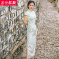cheongsam Spring of 2018 S ml XL XXL private customization / contact customer service Short sleeve long cheongsam grace High slit banquet Semicircle lapel Decor Over 35 years old Embroidery Beauty of the world silk Mulberry silk 100%