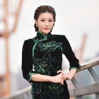 cheongsam Winter of 2019 S ml XL XXL private customization / contact customer service three quarter sleeve long cheongsam Retro High slit daily Semicircle lapel Hand painted Piping Beauty of the world polyester fiber Same model in shopping mall (sold online and offline)