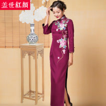 cheongsam Fall 2017 S ml XL XXL private customization / contact customer service Dark red Long sleeves long cheongsam Retro High slit wedding Straight front Decor Embroidery Beauty of the world silk Mulberry silk 100% Same model in shopping mall (sold online and offline)