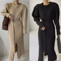 Dress Winter 2020 Black, khaki, dark brown Average size longuette Long sleeves commute other Solid color other Korean version 31% (inclusive) - 50% (inclusive) other