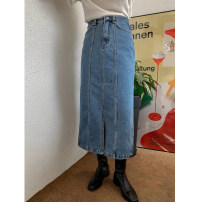 skirt Spring 2021 S,M,L blue Mid length dress commute High waist High waist skirt Solid color Type A 25-29 years old 30% and below Denim cotton pocket Korean version