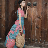 Dress Summer 2020 Blue, red S,XL,L,M,XXL,XXXL Mid length dress singleton  Short sleeve commute Crew neck High waist stripe zipper A-line skirt routine Others 35-39 years old Type A Sun Moon square ethnic style Stitching, printing R20X161 51% (inclusive) - 70% (inclusive) other cotton