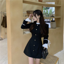 Dress Winter 2020 black S,M,L Mid length dress singleton  Long sleeves commute other High waist Solid color Single breasted A-line skirt Petal sleeve Others 18-24 years old Type A Other / other Korean version Lace up, stitching 31% (inclusive) - 50% (inclusive) other other