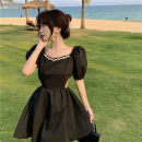 Dress Summer 2021 White, black S, M Short skirt singleton  Short sleeve commute square neck High waist Solid color Socket A-line skirt puff sleeve Others 18-24 years old Type A Other / other Korean version 31% (inclusive) - 50% (inclusive) other other
