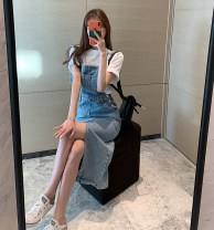 Dress Spring 2021 Blue, black S,M,L longuette singleton  Sleeveless commute square neck High waist other Socket other other straps 18-24 years old Type A Other / other Korean version 31% (inclusive) - 50% (inclusive) other other
