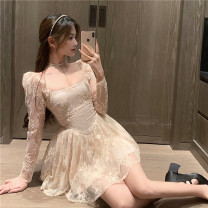 Dress Spring 2021 Apricot, black S,M,L Short skirt singleton  Long sleeves commute square neck High waist Solid color Socket A-line skirt routine Others 18-24 years old Type A Other / other Korean version Lace 31% (inclusive) - 50% (inclusive) Lace other