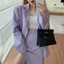 suit Spring 2021 Purple suit, purple skirt S. M, average size Long sleeves Medium length easy tailored collar Single breasted commute other Solid color 18-24 years old 71% (inclusive) - 80% (inclusive) other Other / other