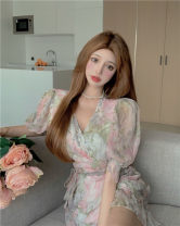 Dress Short skirt printing Short sleeve singleton  commute V-neck Design and color High waist Condom 18-24 years old puff sleeve other other Type A Other Korean version Chiffon Summer 2021 31% (inclusive) - 50% (inclusive) Other / other S,M,L