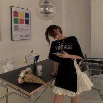 T-shirt Black T, white skirt Average size Summer 2021 Short sleeve Crew neck easy Regular routine commute cotton 31% (inclusive) - 50% (inclusive) 18-24 years old Korean version other Other / other