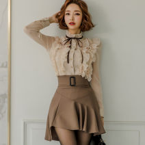 Dress Spring 2020 Picture color (suit) S,M,L,XL Short skirt Two piece set Long sleeves commute stand collar middle-waisted Solid color Single breasted Ruffle Skirt shirt sleeve Others 18-24 years old Type A Korean version 81% (inclusive) - 90% (inclusive) brocade nylon