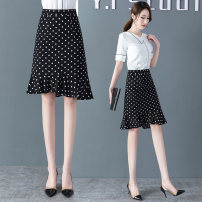 skirt Summer 2020 26/S,27/M,28/L,29/XL,30/2XL,31/3XL Black + white dots Middle-skirt commute High waist Irregular Dot Type A 30-34 years old 2021XGJM More than 95% other Other / other polyester fiber Asymmetry, printing Korean version