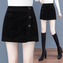 skirt Autumn 2020 S/26,M/27,L/28,XL/29,XXL/30,3XL/31 Black, brown Short skirt Versatile High waist A-line skirt Solid color YJR2805 More than 95% Other / other cotton