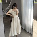 Dress Summer 2021 Apricot S,M,L Mid length dress singleton  Short sleeve commute square neck High waist Solid color Socket A-line skirt routine Type A FT GUOGE Korean version Splicing, three-dimensional decoration G101387