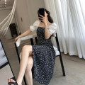 Dress Summer 2021 Decor S,M,L Mid length dress singleton  Short sleeve commute square neck High waist other Socket A-line skirt routine Type A Korean version Splicing, three-dimensional decoration