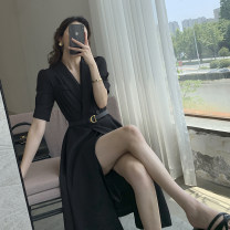 Dress Summer 2021 black S,M,L Mid length dress singleton  Short sleeve commute V-neck High waist Solid color double-breasted A-line skirt other Others Type A FT GUOGE Korean version Pocket, stitching, tridimensional decoration, buttons G006325