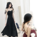 Dress Summer 2021 Black, red M,L,XL,2XL Mid length dress singleton  Sleeveless commute V-neck High waist Solid color Socket A-line skirt other Others 25-29 years old Type H Korean version backless More than 95% other polyester fiber