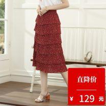 skirt Spring 2020 XS,S,M,L gules longuette commute Natural waist Cake skirt Type A 25-29 years old 2003T81 Betu / Baitu Fold, print Ol style