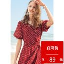 Dress Summer of 2019 gules XS,S,M,L Mid length dress singleton  Short sleeve commute V-neck middle-waisted Dot Socket A-line skirt bishop sleeve 25-29 years old Type A Hundred pictures lady Lotus leaf edge Chiffon