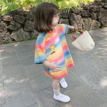 T-shirt Other / other 90cm,100cm,110cm,120cm,130cm female summer Short sleeve Crew neck Korean version There are models in the real shooting cotton stripe Class B 2 years old, 3 years old, 4 years old, 5 years old, 6 years old, 7 years old