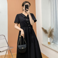 Dress Spring 2021 black S,M,L longuette singleton  Short sleeve commute Polo collar High waist Solid color Socket A-line skirt routine Others Type A lady Pleats, buttons More than 95% brocade cotton