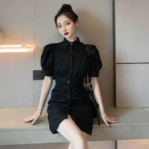 Dress Summer 2020 Picture black Average size Short skirt Short sleeve commute stand collar High waist other Others 18-24 years old Type A Korean version 51% (inclusive) - 70% (inclusive)
