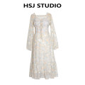 Dress Spring 2021 Sling version, long sleeve version S,M,L Mid length dress singleton  Sweet V-neck High waist Decor Others Type X