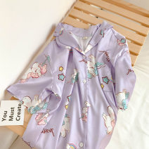 Pajamas / housewear set female Other / other M, L Light purple Unicorn short sleeve skirt Polyester (polyester) Short sleeve summer Thin money 200g and below Middle-skirt