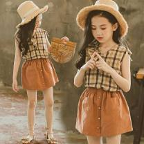 suit Other / other Light brown female summer leisure time Short sleeve + skirt 2 pieces Thin money There are models in the real shooting Socket lattice cotton children Giving presents at school Class A