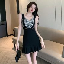 Dress Summer 2021 Plaid black S,M,L Short skirt singleton  Sleeveless commute V-neck High waist Solid color Socket A-line skirt camisole 18-24 years old Type A Korean version Stitching, ruffles 31% (inclusive) - 50% (inclusive) other polyester fiber
